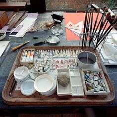 edward bawden's studio. how clean and organized!...good watercolor paint setup..can paint immediately