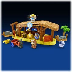 Fisher Price Little People® Nativity Playset 11 Pieces NEW Great for Christmas by Fisher Price. $39.75. Requires 3 AA batteries. 11 Piece Nativity Set. Mary, Joseph, baby Jesus, 4 animals, donkey cart, food bin and manger. Eleven-piece Nativity Playset includes Mary, Joseph and baby Jesus (in manger bed) figures, 4 animal figures, donkey cart, food bin and musical manger.  Requires 3 AA batteries.