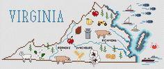 Virginia Map - Cross Stitch Pattern