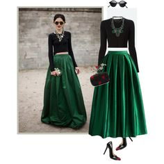 the green skirt by walkthisland on Polyvore featuring  Proenza Schouler, Chicwish, Alexander McQueen, Chanel and Kendra Scott