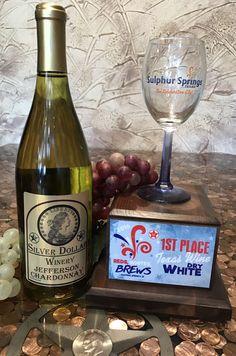 Award Winning in Sulphur Springs by a Sommelier for Jefferson Chardonnay Sulphur Springs Texas, Bedford Texas, Silver Dollar, Wines, Brewing, Wine Glass, Bottle, Flask, Jars