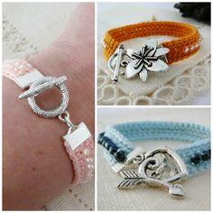 Crochet Bracelet by Olivia Silva Diy Bracelets And Anklets, Crochet Beaded Bracelets, Cuff Bracelets, Crochet Jewellery, Diy Jewelry, Jewelery, Fashion Jewelry, Jewelry Making, Love Crochet