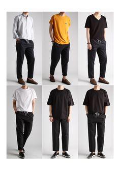 시어서커 스트라이프 10부 밴딩바지-pant33 - [존클락]30대 남자옷쇼핑몰, 깔끔한 캐쥬얼 데일리룩, 추천코디 Stylish Mens Outfits, Casual Outfits, Men Casual, Outfits Hombre, Korean Fashion Men, Korean Outfits, Minimal Fashion, Mens Clothing Styles, Ideias Fashion