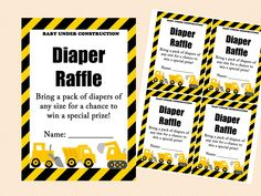 diaper raffle card and sign, construction baby shower game printables, instant download