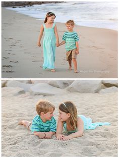 brother and sister walking on beach at family photography photo shoot