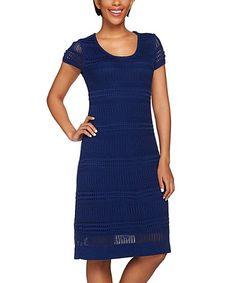 This Navy Crochet Cap Sleeve Dress is perfect! #zulilyfinds