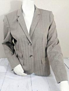 23.33$  Buy now - http://viqmg.justgood.pw/vig/item.php?t=p7fnak21608 - Calvin Klein Womens Beige Chevron Two-Button Blazer Jacket Size 12 Business Work