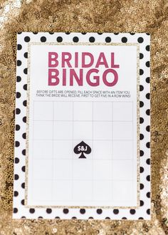 Kate Spade Bridal Shower Bingo