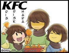 KFC Trio by MoltoBenePasta This just blows my mind😶💣💥 Undertale Comic Funny, Undertale Memes, Undertale Drawings, Undertale Cute, Undertale Fanart, Kfc, Chara, Toby Fox, Fandom Memes