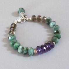 Emerald Amethyst Bracelet Smoky Quartz Sterling Silver by DJStrang
