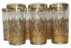 Gold Culver Glasses, S/7 on OneKingsLane.com
