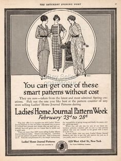 1914 Ladies Home Journal Pattern Week Sewing Curtis Publishing 1920s Advertising | eBay
