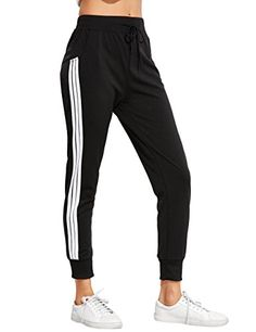 Women's Athletic Pants - SweatyRocks Womens Drawstring Waist Striped Side Jogger Sweatpants with Pockets * Details can be found by clicking on the image. (This is an Amazon affiliate link)