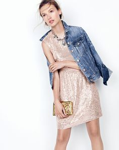Denim jacket over blush pink sequin party dress - J.Crew