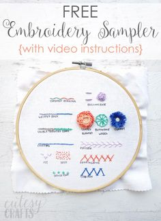 embroidery stitches / embroidery _ embroidery patterns _ embroidery inspiration _ embroidery designs _ embroidery for beginners _ embroidery stitches _ embroidery flowers _ embroidery hoop art Advanced Embroidery, Embroidery Stitches Tutorial, Embroidery Flowers Pattern, Embroidery Sampler, Simple Embroidery, Embroidery Patterns Free, Learn Embroidery, Hand Embroidery Designs, Embroidery Floss Crafts