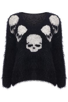 Shop Knitted Skull Print Black Jumper at ROMWE, discover more fashion styles online. Punk Fashion, Grunge Fashion, Gothic Fashion, 2000s Fashion, Grunge Style, Banded Collar Shirts, Skull Sweater, Black Jumper, Black Sweaters