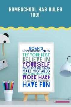 Homeschool Rules personalized print homeschool decor | Etsy