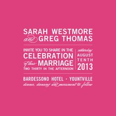 """I like how the sans serif and script fonts work together in this and how balanced the whole piece is. I like that it's not exactly like a traditional wedding invitation that use a lot of """"fancy"""" typefaces, but was actually concerned with the design."""