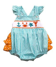 Turquoise Dot Sea Life Smocked Bubble Romper - Infant