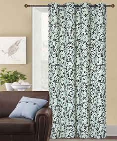 Look at this Sage Flocked Linen Curtain Panel - Set of Two on #zulily today!