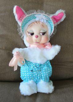 Vintage Rushton Plush Rubber Face Easter Bunny Rabbit Animal Toy w Bottle Bonnet