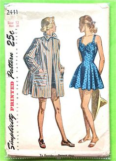 Skirted Swimsuit Cover Up Robe Bathing Suit Pattern One Piece Swimsuit Simplicity 2441 Size 14 Bust 32 Women's Vintage Sewing Pattern Coat Patterns, Clothing Patterns, Dress Patterns, Fashion Patterns, Costume Patterns, Simplicity Sewing Patterns, Vintage Sewing Patterns, Pattern Sewing, Pattern Art