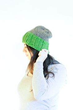 Knit Slouchy Hat / Winter Toque / Grass & Barley by daynightrose on Etsy