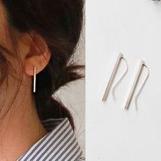 Real 925 Simple Línea de Plata esterlina Stud Pendientes Regalo para Mujeres Niñas Nueva Moda de joyería de plata