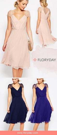 Chiffon Short Sleeve Knee-Length Casual Dress Every lady needs some glam in her closet. An elegant chiffon dress is what you need this summer.