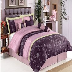 Grand Park Purple Comforter Queen Size Luxury 7 Pc Comfort Quality Bed In A Bag Full Size Bed Sets, Queen Size Bed Sets, King Size Comforter Sets, Queen Size Sheets, Queen Size Bedding, Queen Beds, Purple Comforter, Purple Bedding Sets, Lavender Comforter