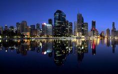 Brisbane city, night, skyline, Queensland, Australia