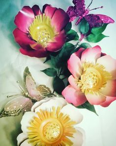 Peony flowers and butterflies by gardendreamsdecor.com