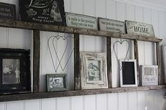 Use an old ladder to make a cute shelf. Love this idea!