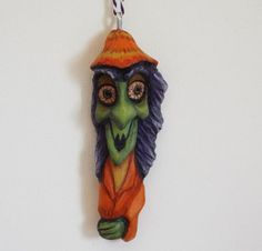 Halloween Witch Ornament Wood Carving Folk Art by llacreations