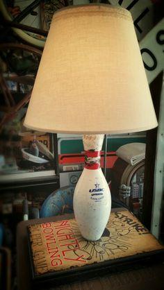 A bowling pin lamp