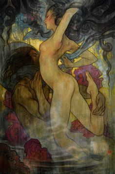 "redlipstickresurrected: "" Rebecca Guay aka Rebecca Léveillé-Guay aka R. Léveillé-Guay (American, b. 1970, northern Massachusetts, USA) - Dusk, 2014 Paintings: Oil on Canvas """