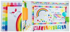 Hello Sunshine - SchoolgirlStyle www.schoolgirlstyle.com  rainbow classroom decor, unicorn classroom theme, classroom organization, teacher desk, bulletin boards, rainbow decor, birthday set Love Rainbow, Rainbow Theme, Rainbow Colors, Teacher Supply Store, Teacher Supplies, Happy Birthday Meme, Birthday Tags, Kindergarten Classroom Decor, Classroom Themes