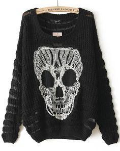 Black Long Sleeve Lace Skull Pattern