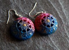 Earrings polymer clay, Dangle earrings, Jewelry polymer clay, Convex earrings, Easy earrings, Handmade gift, Womens jewelry, Gift for her by BuduartJulia on Etsy