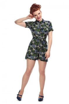 bb42a60dc Vacation Outfit Inspiration: Collectif Palm Tree Print Playsuit / Vintage  Style/ Retro style #