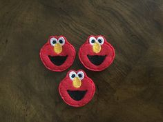 Ernie Felt Embellishments / Appliques - Set Of 3 - Ready To Ship by CreationsByKG on Etsy