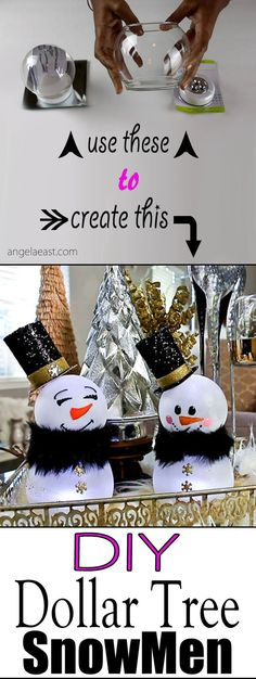 DIY Christmas Decor - Dollar Tree Snowman - Angela East - DIY Dollar Tree Snowman by cathleen Best Picture For diy For Your Taste You are looking for somet - Dollar Tree Christmas, Dollar Tree Crafts, Christmas Items, Diy Christmas Gifts, Kids Christmas, Christmas Ornaments, Christmas Snowman, Xmas Trees, Snowman Tree