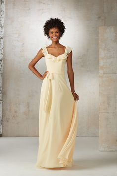 Morilee Bridesmaids 21520 A Soft Ruffled Neckline Creates a Flattering  Feminine Look on This Chiffon Bridesmaids Dress. Matching Tie Sash Accents  the ... 6821462d759b