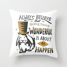 Check out society6curated.com for more! @society6 #illustration #home #decor #homedecor #interior #design #interiordesign #buy #shop #shopping #sale #apartment #apartmentgoals #sophomore #year #house #fun #cool #unique #gift #giftidea #idea #pillows  #dorm #believe #magical #magic #rabbit #wonderful #text #typography #lettering