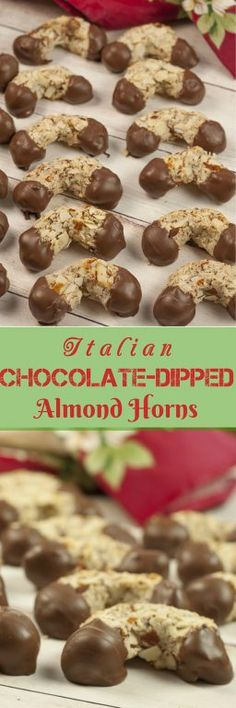 Grandma's Traditional Italian Chocolate-Dipped Almond Horns recipe - horseshoe-shaped crescent cookies that are moist and chewy on the insidewith acrunchy almond texture on the outside.