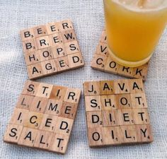 Great coaster idea, especially when you have a scrabble board but are missing pieces