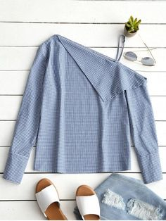 Skew Collar Long Sleeve Checked Blouse - BLUE S