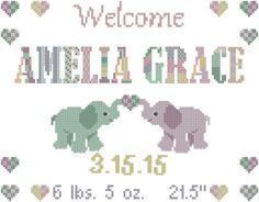 Elephant Cross Stitch Pattern, Cross Stitch Baby Birth Sampler with Elephants and Patchwork Name by oneofakindbabydesign