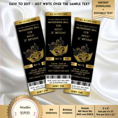 """Masquerade Party Birthday Invitation Ticket Style, Black and Gold - DOWNLOAD Instantly - EDITABLE TEXT - Microsoft Word Format - (2"""" x 6"""")"""