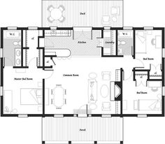 1142 sq. ft. on one level, 3 bedroom, two bath, front + back porches, fireplace, eating area in kitchen, open living spaces, bedrooms at opposite sides of the house (privacy!)